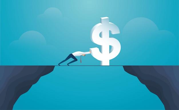 Empresario empujar moneda dólar cruzar la montaña