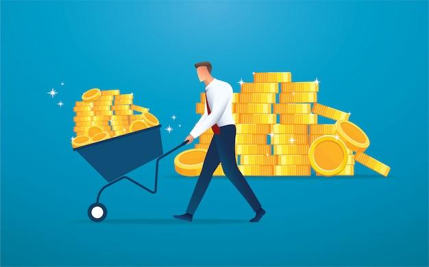 Empresario empuje carrito lleno de monedas de oro