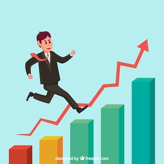 Empresario encima de una gráfica de crecimiento