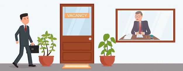 Empresario va a una entrevista de trabajo. buscar trabajos.