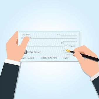 Empresario escribiendo un cheque bancario de pago