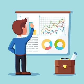 Empresario escribiendo gráficos de proyectos en pantalla, tablero. reunión, presentación, seminario, concepto de formación. altavoz sobre fondo blanco. analista de negocios, consultor.