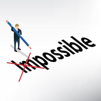 Empresario escribiendo imposible a posible
