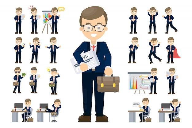 Empresario establece ilustración.