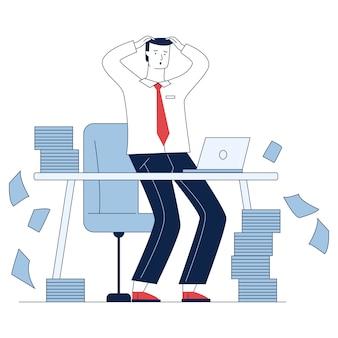 Empresario estresado con montones de papeles