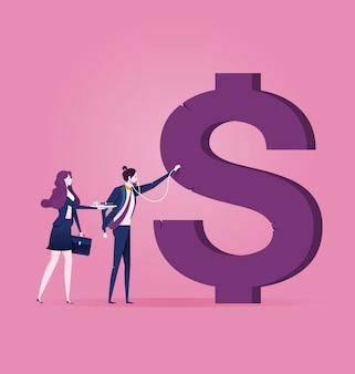 Empresario examinando el signo de dólar - vector de concepto de negocio