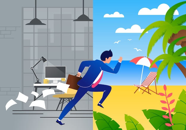 Empresario con exceso de trabajo en traje escaping trabajo