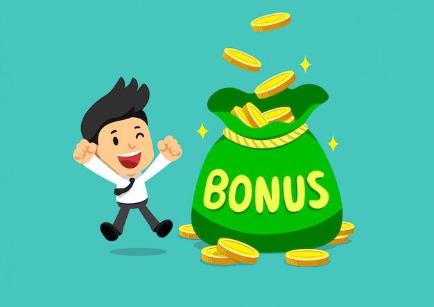 Empresario feliz de dibujos animados con bolsa de dinero de bonificación grande
