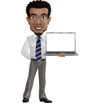 Empresario feliz de dibujos animados sosteniendo una computadora portátil