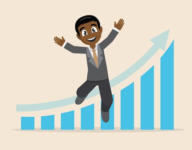 Empresario feliz flecha gráfico éxito empresarial.