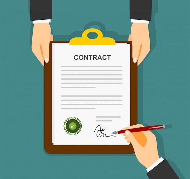 El empresario se firma en el contrato de papel de acuerdo. vector