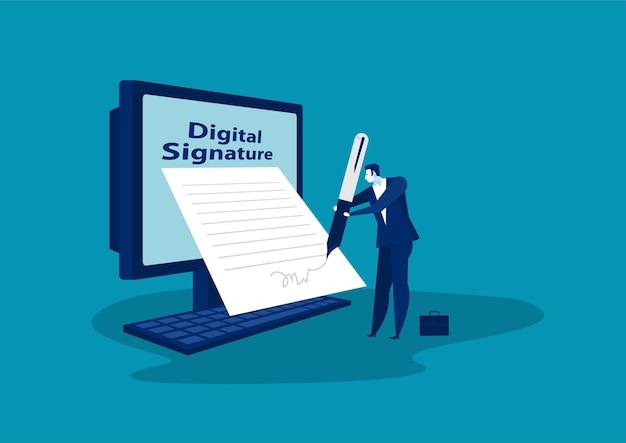 Empresario firmando un acuerdo o contrato online.