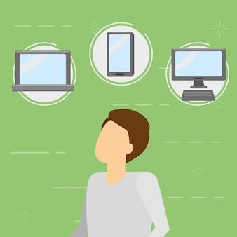 Empresario con gadgets, estilo plano