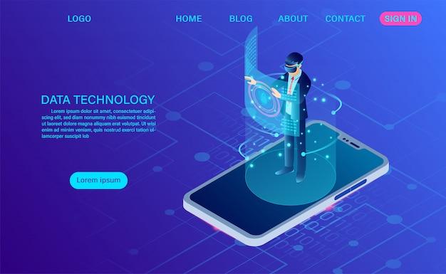 Empresario con gafas vr de pie en el móvil con interfaz conmovedora en el mundo de la realidad virtual. tecnología del futuro. isométrica plana plantilla de encabezado web. ilustración isométrica plana