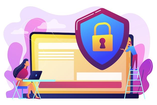 Empresario de gente pequeña con escudo que protege los datos en la computadora portátil. privacidad de datos, regulación de la privacidad de la información, concepto de protección de datos personales. ilustración aislada violeta vibrante brillante