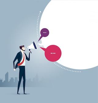 Empresario gritando con megáfono. vector de concepto de negocio