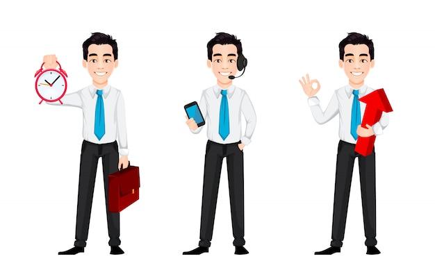 Empresario guapo personaje de dibujos animados