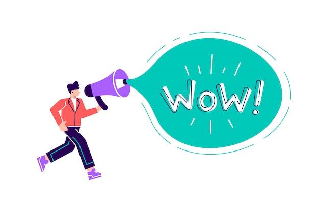Empresario hablando a través de un megáfono, gran bocadillo con wow! palabra adentro. ilustración de diseño moderno de estilo plano de dibujos animados para página web, tarjetas, póster, redes sociales.