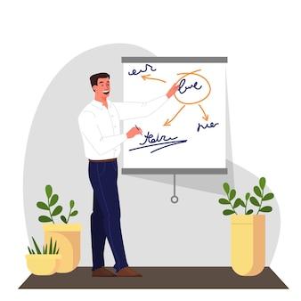 El empresario hace presentación con gráfico y tabla. oficina