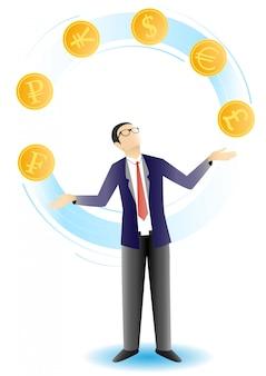 Empresario haciendo malabares con monedas ilustración