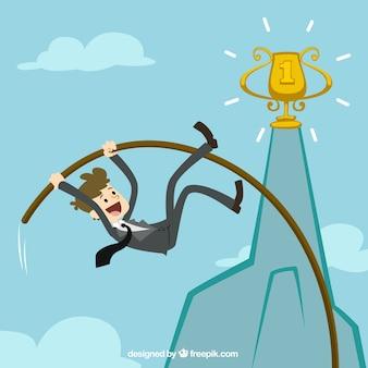 Empresario haciendo salto con pértiga para lograr su meta