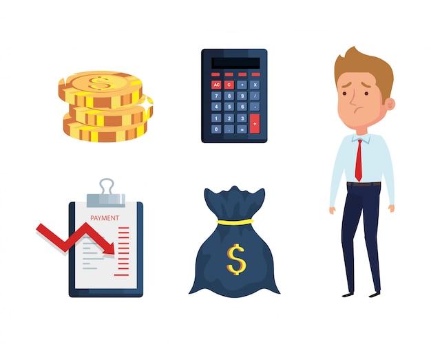El empresario y los iconos de la crisis financiera de la quiebra
