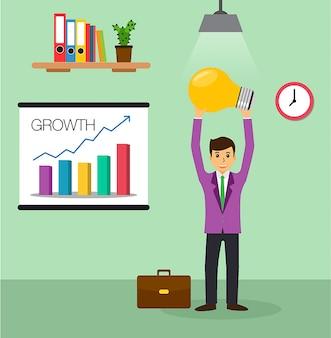 Empresario idea bombilla, vector de diseño plano de oficina