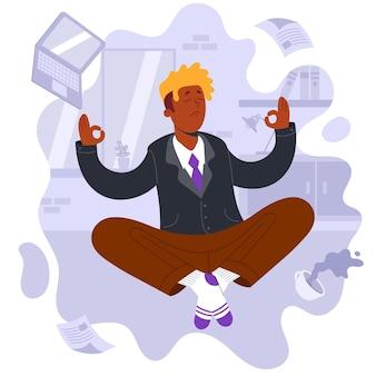 Empresario de ilustración plana meditando