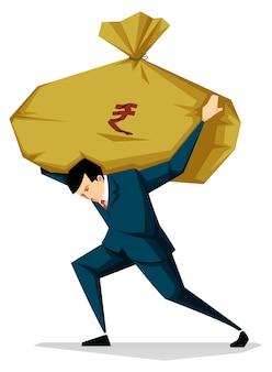 Empresario con ilustración de saco de dinero, alto costo, concepto de inflación
