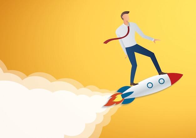 Empresario en ilustración vectorial cohete