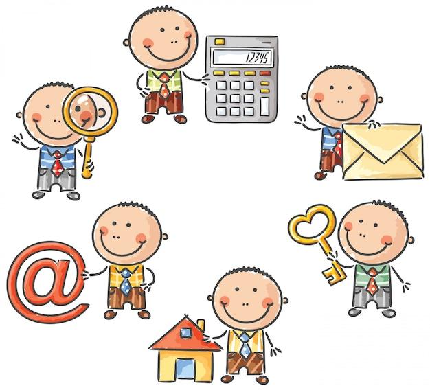 Empresario infantil con elementos web