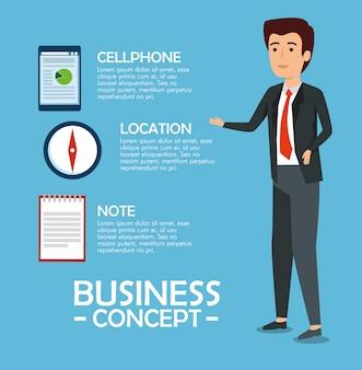 Empresario con información del documento