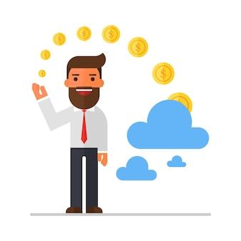 Empresario invertir dinero en la nube