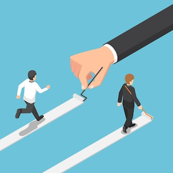Empresario isométrica pinta su propio camino hacia el éxito