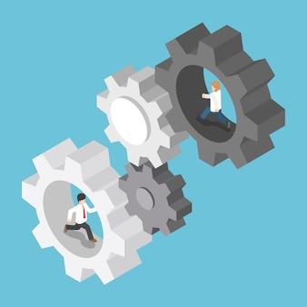 Empresario isométrico corriendo dentro del engranaje