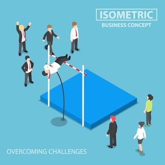 Empresario isométrico haciendo el salto con pértiga