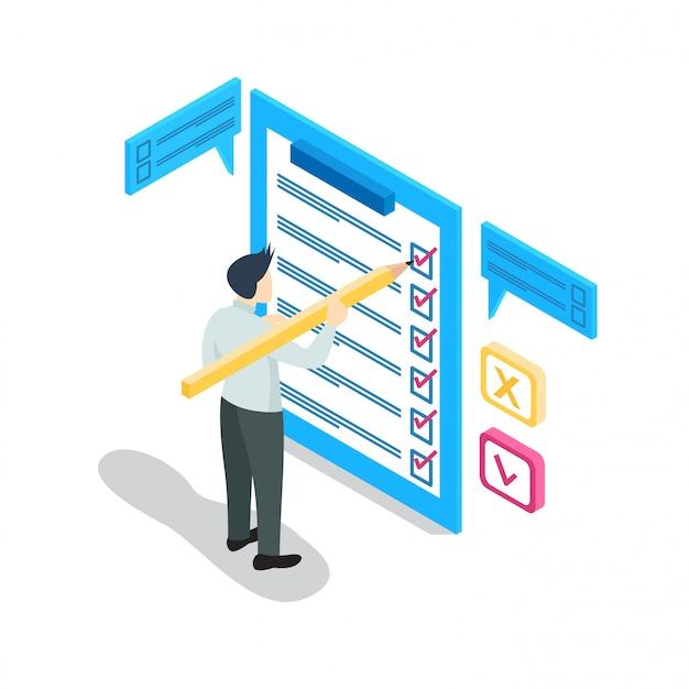 Empresario isométrico con lista de verificación