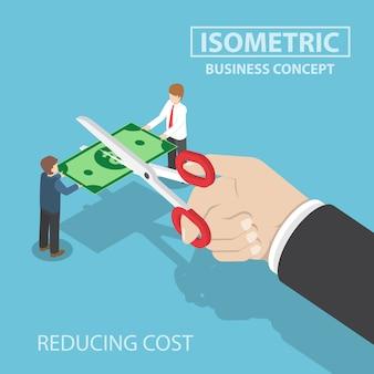 Empresario isométrico mano con tijeras cortando dinero