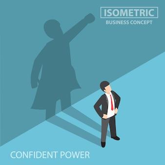Empresario isométrico con su sombra de superhéroe