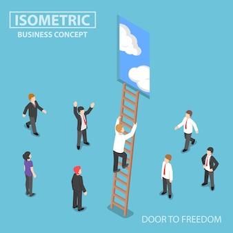 Empresario isométrico subiendo escalera a la puerta