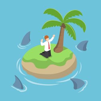 Empresario isométrico varado en una isla rodeada de tiburones
