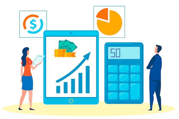Empresario, jefe y asistente analizando ganancias