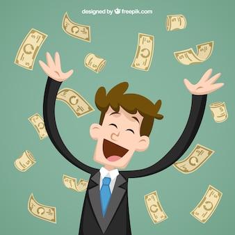 Empresario lanzando billetes de banco