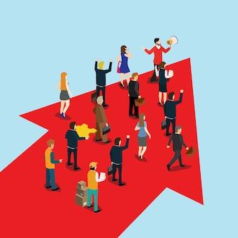 Empresario líder hace una flecha