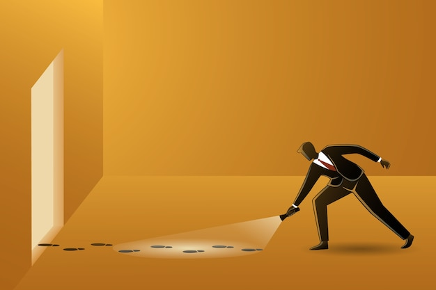 Empresario con linterna investigando huellas sospechosas