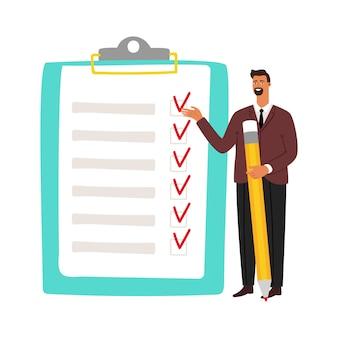 Empresario y lista de verificación. hombre con lápiz y lista de tareas.