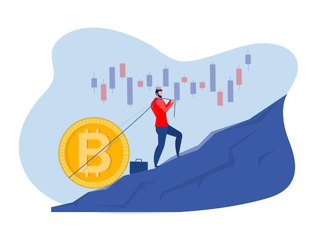 Empresario llevando bitcoin crecimiento cuesta arriba símbolo de inversión de riqueza ilustración vectorial