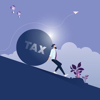 Empresario llevando y haciendo un esfuerzo para empujar piedra grande con mensaje de impuestos