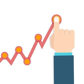 Empresario de mano en el gráfico de crecimiento de ganancias.