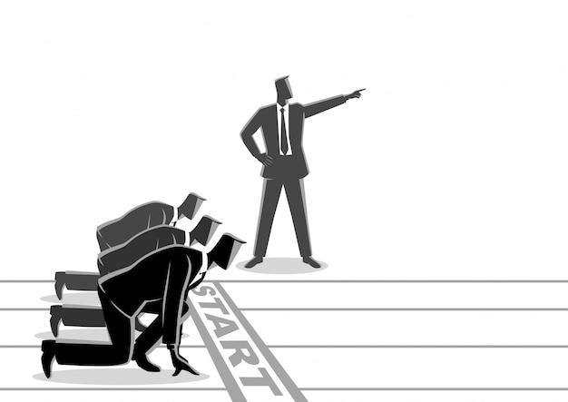 Empresario con mano puntiaguda ordenando a su subordinado que comience a correr